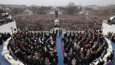 President Peeta Mellark's second inaugural address as shown from the air.
